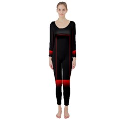 Mistery Door Light Black Red Long Sleeve Catsuit