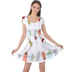Mask Face Broom Candy Smile Helloween Cap Sleeve Dresses