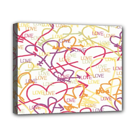 Love Heart Valentine Rainbow Color Purple Pink Yellow Green Canvas 10  x 8