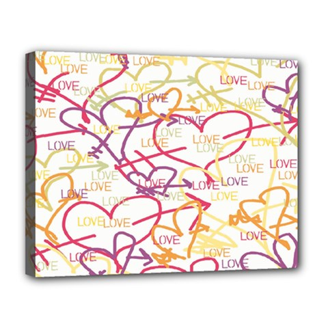 Love Heart Valentine Rainbow Color Purple Pink Yellow Green Canvas 14  x 11