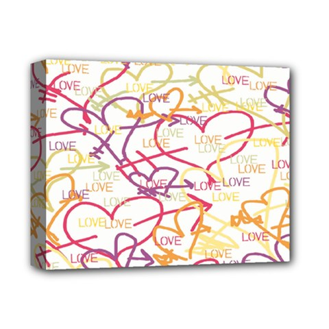 Love Heart Valentine Rainbow Color Purple Pink Yellow Green Deluxe Canvas 14  x 11