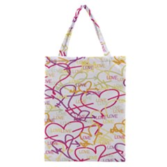 Love Heart Valentine Rainbow Color Purple Pink Yellow Green Classic Tote Bag