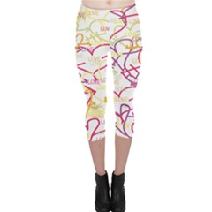 Love Heart Valentine Rainbow Color Purple Pink Yellow Green Capri Leggings
