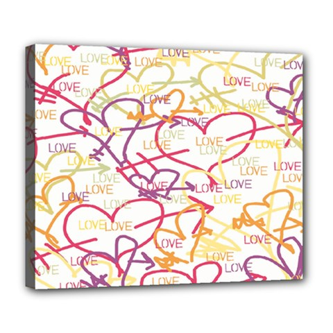 Love Heart Valentine Rainbow Color Purple Pink Yellow Green Deluxe Canvas 24  x 20
