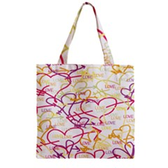 Love Heart Valentine Rainbow Color Purple Pink Yellow Green Zipper Grocery Tote Bag