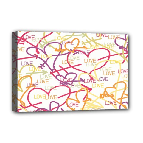 Love Heart Valentine Rainbow Color Purple Pink Yellow Green Deluxe Canvas 18  x 12