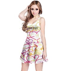 Love Heart Valentine Rainbow Color Purple Pink Yellow Green Reversible Sleeveless Dress