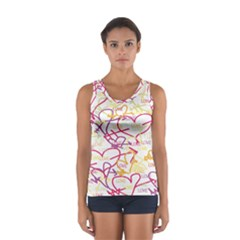 Love Heart Valentine Rainbow Color Purple Pink Yellow Green Women s Sport Tank Top