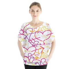 Love Heart Valentine Rainbow Color Purple Pink Yellow Green Blouse