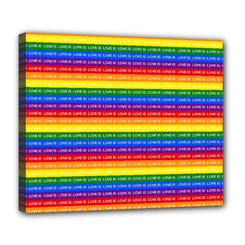Love Valentine Rainbow Red Purple Blue Green Yellow Orange Deluxe Canvas 24  x 20