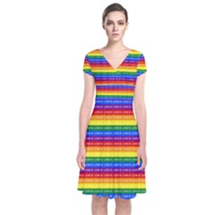 Love Valentine Rainbow Red Purple Blue Green Yellow Orange Short Sleeve Front Wrap Dress