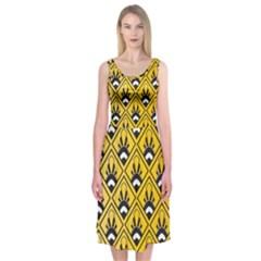 Original Honey Bee Yellow Triangle Midi Sleeveless Dress