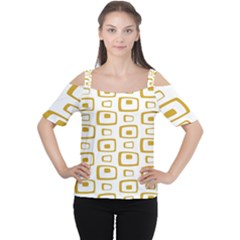 Plaid Gold Women s Cutout Shoulder Tee