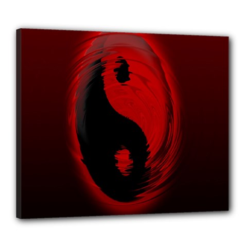 Red Black Taichi Stance Sign Canvas 24  x 20