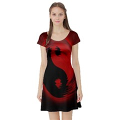 Red Black Taichi Stance Sign Short Sleeve Skater Dress