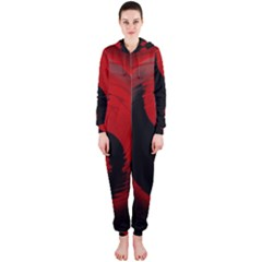 Red Black Taichi Stance Sign Hooded Jumpsuit (Ladies)