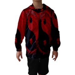 Red Black Taichi Stance Sign Hooded Wind Breaker (kids)