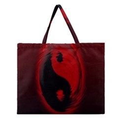 Red Black Taichi Stance Sign Zipper Large Tote Bag