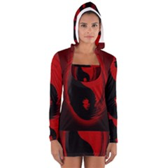 Red Black Taichi Stance Sign Women s Long Sleeve Hooded T-shirt