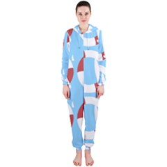 Sail Summer Buoy Boath Sea Water Hooded Jumpsuit (Ladies)
