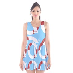 Sail Summer Buoy Boath Sea Water Scoop Neck Skater Dress