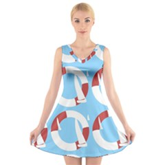 Sail Summer Buoy Boath Sea Water V-Neck Sleeveless Skater Dress
