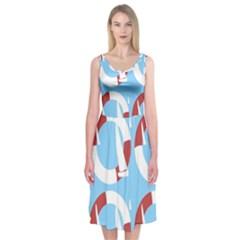 Sail Summer Buoy Boath Sea Water Midi Sleeveless Dress