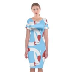 Sail Summer Buoy Boath Sea Water Classic Short Sleeve Midi Dress
