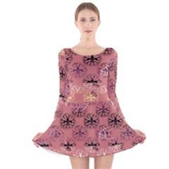 Overlays Pink Flower Floral Long Sleeve Velvet Skater Dress