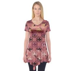 Overlays Pink Flower Floral Short Sleeve Tunic