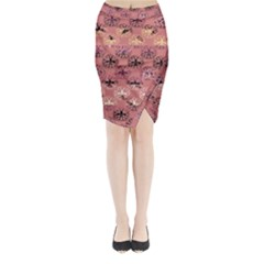 Overlays Pink Flower Floral Midi Wrap Pencil Skirt