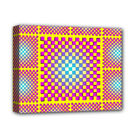 Rotational Plaid Purple Blue Yellow Deluxe Canvas 14  x 11