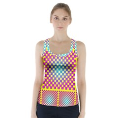 Rotational Plaid Purple Blue Yellow Racer Back Sports Top