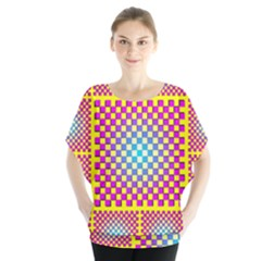 Rotational Plaid Purple Blue Yellow Blouse