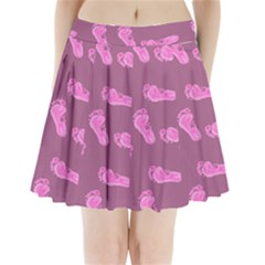 Soles Feet Pink Human Pleated Mini Skirt