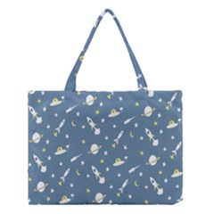 Space Saturn Star Moon Rocket Planet Meteor Medium Tote Bag