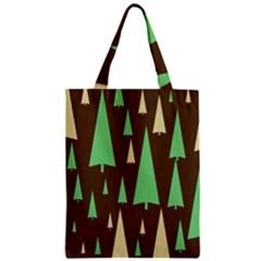 Spruce Tree Grey Green Brown Zipper Classic Tote Bag