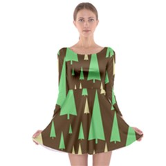 Spruce Tree Grey Green Brown Long Sleeve Skater Dress