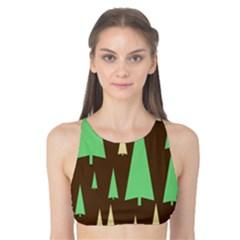 Spruce Tree Grey Green Brown Tank Bikini Top
