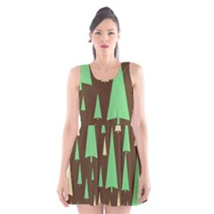 Spruce Tree Grey Green Brown Scoop Neck Skater Dress