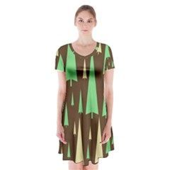 Spruce Tree Grey Green Brown Short Sleeve V-neck Flare Dress