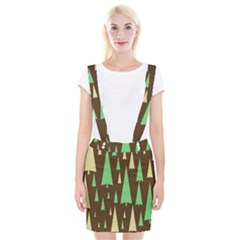 Spruce Tree Grey Green Brown Suspender Skirt