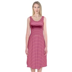 Tumblr Static Pink Wave Fingerprint Midi Sleeveless Dress