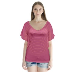 Tumblr Static Pink Wave Fingerprint Flutter Sleeve Top