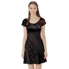 Trailer Drax Line Brown White Chevron Galaxy Space Short Sleeve Skater Dress