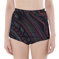 Trailer Drax Line Brown White Chevron Galaxy Space High-Waisted Bikini Bottoms
