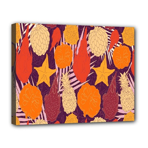 Tropical Mangis Pineapple Fruit Tailings Canvas 14  x 11