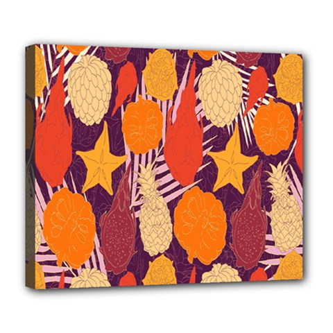 Tropical Mangis Pineapple Fruit Tailings Deluxe Canvas 24  x 20