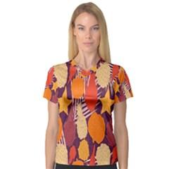 Tropical Mangis Pineapple Fruit Tailings Women s V-Neck Sport Mesh Tee