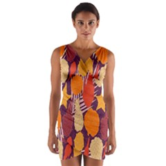 Tropical Mangis Pineapple Fruit Tailings Wrap Front Bodycon Dress
